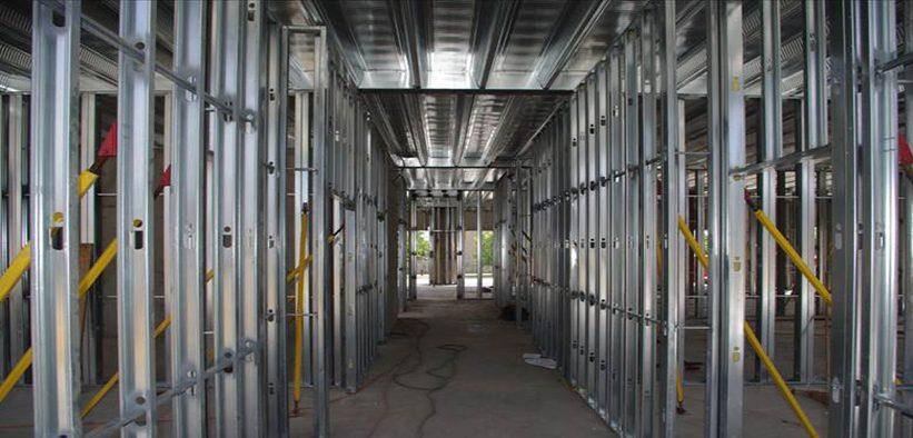 Interior of building constructed of steel studs