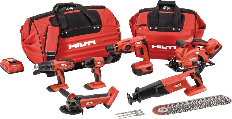 Selection of power tools from Hilti including drill, impact driver, hammer driver, disc grinder, resipricating saw, circular saw, job bags and replacement blades